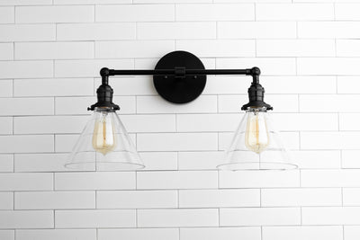 Glass Shade Lamp - Black Vanity - Vanity Lighting - Bathroom Vanity Light - Rustic Lighting - Industrial Lighting - Vanity - Model No. 1464