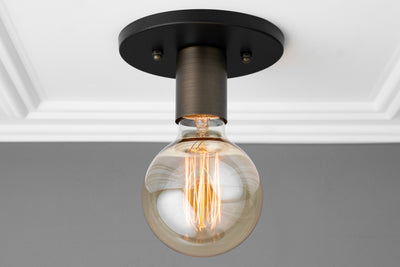 Light Fixture - Flush Mount - Ceiling Light - Wall Sconce - Brushed Nickel - Edison Bulb - Minimalist - Simple Lighting