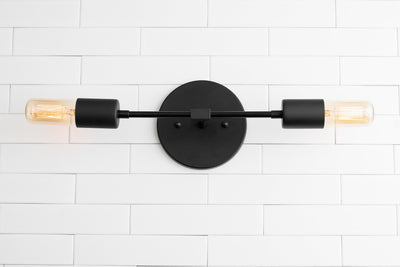 Industrial Lighting - Vanity - Bathroom Light - Silver Wall Light - Light Fixture - Wall Lamp - Black Nickel Light - Model No. 5109