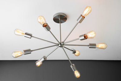 Steampunk Lamp - Chandelier Lighting - Industrial Light - Industrial Sputnik - Ceiling Light - Chandelier - Brushed Nickel - Model No. 8783