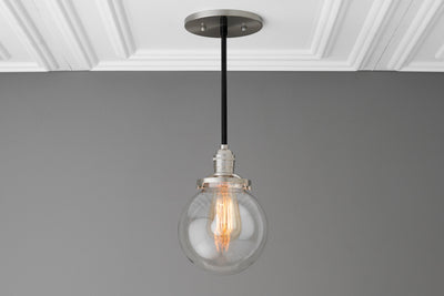Clear Globe Light - Pendant Lighting - Farmhouse Lighting - Ceiling Light - Edison Light - Kitchen Lighting - Lighting - Industrial Lighting