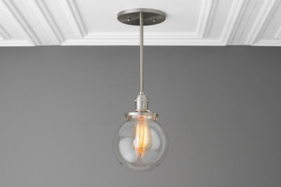 Clear Globe Light - Pendant Lighting - Farmhouse Lighting - Ceiling Light - Edison - Kitchen Light - Lighting - Industrial - Model No. 4867