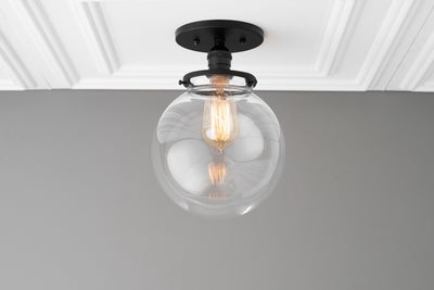 Large Globe Light - Semi Flush Light - Ceiling Light - Indoor Lighting - Clear Globe Light - Farmhouse Lighting - Hardwired Light