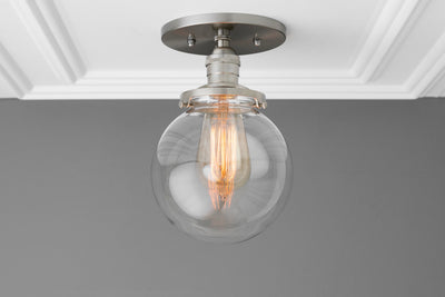 Globe Light - Ceiling Light - Brushed Nickel - Industrial Lighting - Indoor Lighting - Clear Globe - Hardwired Light - Lighting