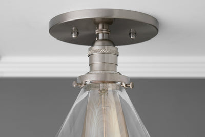 Cone Shade - Ceiling Lampshade - Ceiling Light - Semi Flush - Rustic Lighting - Glass Shade - Light Fixture - Industrial Lighting