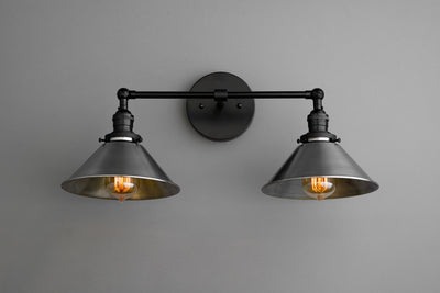 Steel Lighting - Industrial Lighting - Vanity Light - Steampunk Lighting - Bathroom Light - Industrial Vanity - Articulating Light