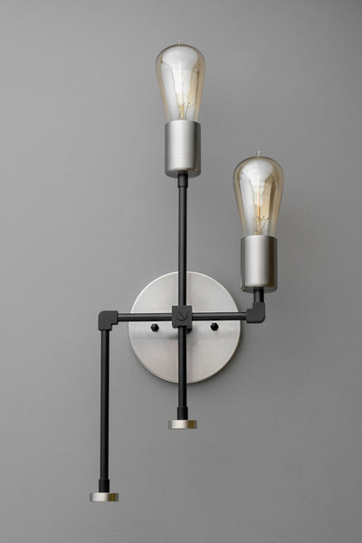 Modern Industrial - Geometric Wall Sconce - Light Fixture - Brushed Nickel - Wall Light - Edison Bulb - Industrial Lighting - Modern Sconce