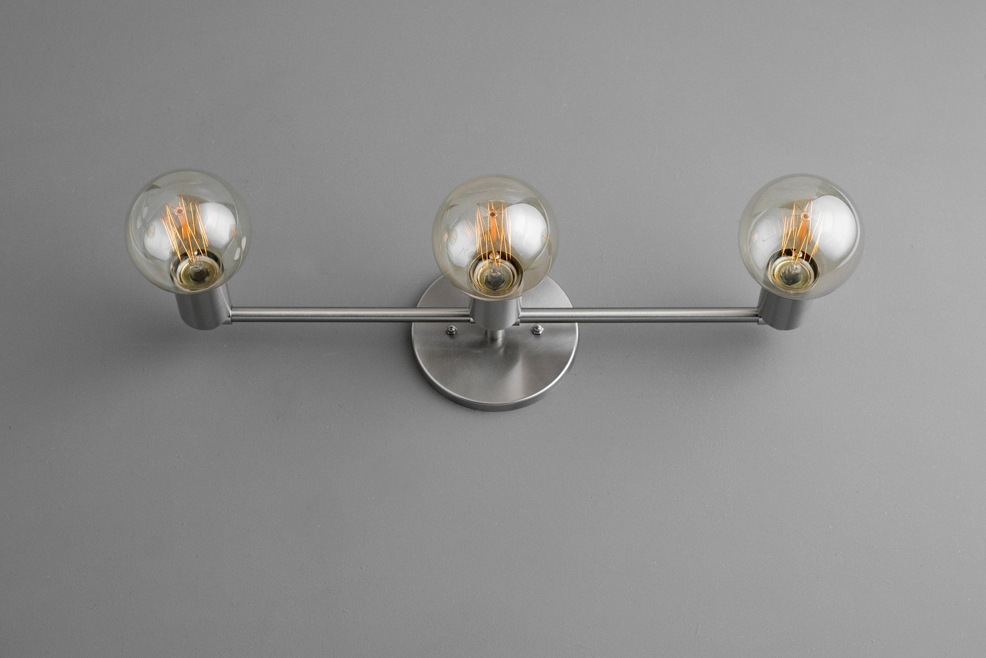 uk availability 466eb 802ce Three Bulb Vanity Light - Edison Bulb - Bare Bulb - Brushed Nickel -  Minimalist Vanity - Bathroom Light Fixture - Industrial Lighting