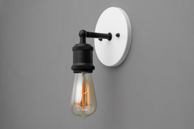 Simple Sconce - Rustic Lighting - Vintage Bare Bulb - Wall Sconce - Light Fixture - Farmhouse Lighting - Minimalist Light - Black and White