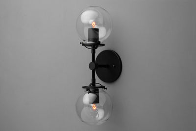 Double Globe Sconce - Wall Sconce - Linear Glass Globe Sconce - Light Fixture - Industrial Lighting - Clear Globe Light - Wall Light