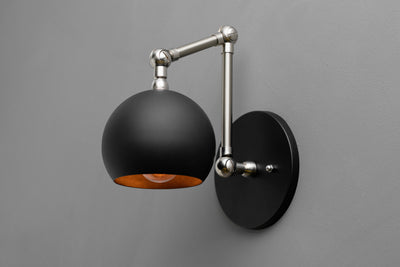 Articulating Sconce - Orb Shade Light - Swivel Wall Light - Industrial Lighting - Bedside Light - Sconce Light - Lighting - Model No. 7901