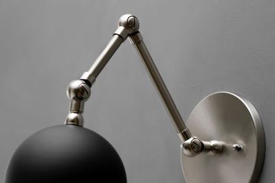 Articulating Sconce - Orb Shade Light - Swivel Wall Light - Light Fixture - Industrial Lighting - Bedside Light - Sconce Light - Lighting