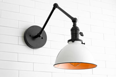 White Shade Light - Modern Farmhouse - Industrial Lighting - Articulating Light - Wall Lighting - Light Fixture - Model No. 8551