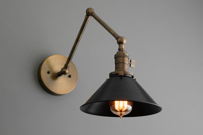 Black Shade Light - Adjustable Sconce - Drafting Light - Wall Sconce - Bathroom Lighting - Industrial Light - Sconce - Model No. 7164