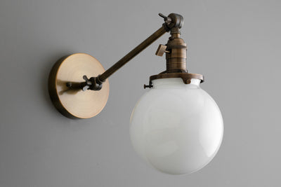 Glass Globe Sconce - Edison Lamp - Farmhouse Lighting - Light Fixture - Globe Wall Light - Articulating Sconce - Rustic Lighting