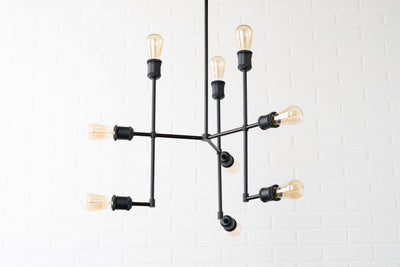Edison Bulb Fixture - Nine Bulb Chandelier - Hanging Lamp - Industrial Chic - Steampunk Lighting - Medium Chandelier - Black Light Fixture