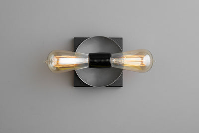 Duel Bulb Wall Light - Unfinished Copper Light - Small Vanity Light - Modern Industrial Sconce - Wall Light - Square Canopy Light