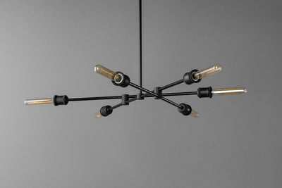 Chandelier Lighting - Edison Ceiling Light - Six Bulb Chandelier - Steampunk Lighting - Long Ceiling Light - Black Decorative Light Fixture