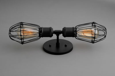 Industrial Vanity - Cage Sconce - Vintage Bulb Light - Two Bulb Wall Light - Industrial Bathroom - Light Fixture - Bulb Cage