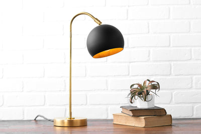 Black And Brass Dome Lamp - Table Lamp - Bedside Lamp - Desk Lamp - Reading Lamp - Mid Century Lamp - Mid Century Decor - Model No. 5741