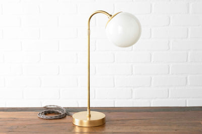 Brass Globe Lamp - Opal Table Lamp - Desk Lamp - Bedside Lamp - Reading Lamp - Mid Century Lamp - Raw Brass - Task Lamp - Model No. 8672