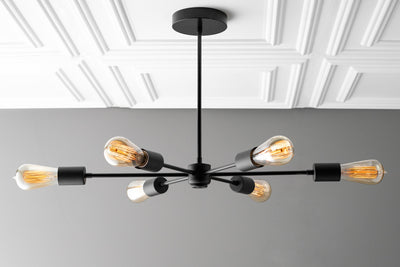 Six Bulb Chandelier - Black Ceiling Light Fixture - Edison Sputnik - Modern Industrial Lighting - Chandelier - Model No. 6673