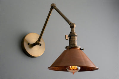 Swing Arm Sconce - Farmhouse Lighting - Rustic lighting - Industrial Lighting - Steampunk Lighting - Edison Lamp - Lighting - Model No. 6668