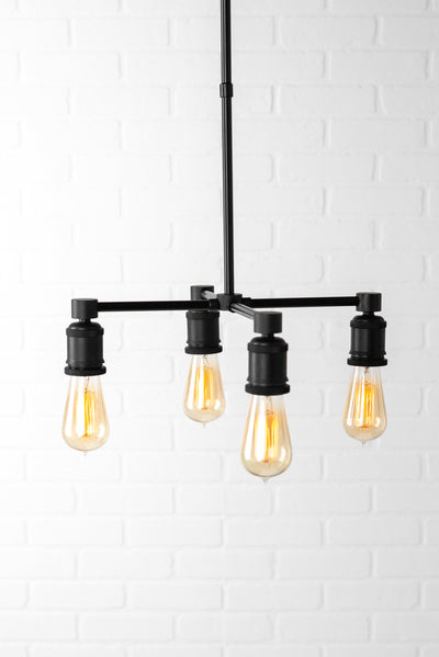 Four Bulb Chandelier - Edison Chandelier - Industrial Light - Ceiling Lighting - Small Chandelier - Table Lighting - Rustic Lighting