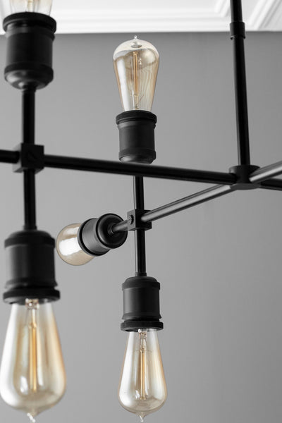 Twelve Bulb Chandelier - Black Edison Chandelier - Dinning Room Lighting - Rustic Steampunk Light - Twelve Bulb Chandelier - Light Fixture