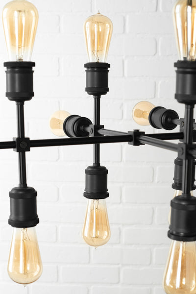 Steampunk Chandelier - 18 Bulb Chandelier - Edison Chandelier - Large Hanging Lamp - Black Ceiling Light - Industrial Light - Light Fixture