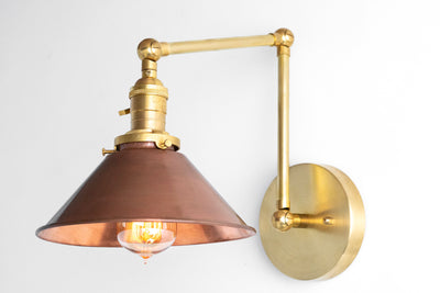 Sconce Light - Swing Arm Lamp - Copper Shade - Farmhouse Lighting - Rustic Lighting - Articulating Light - Sconce - Model No. 6668