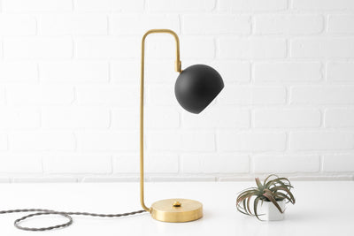 Modern Desk Lamp - Dome Lamp - Touch Lamp - Mid Century Lighting - Brass Desk Lamp - Table Lamp - Black Shade - Model No. 6904