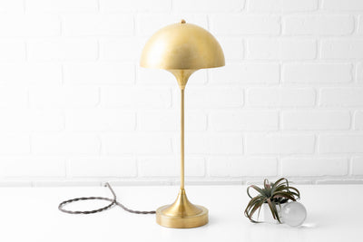Mid Century Lighting - Dome Shade Lamp - Table Lamp - Unfinished Brass Light - Model No. 3643