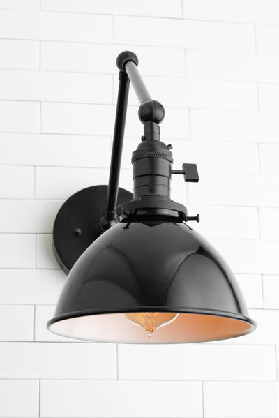 Black Light Fixture - Metal Shade Light - Black Rustic Sconce - Adjustable Light - Farmhouse Lighting - Bathroom Lighting