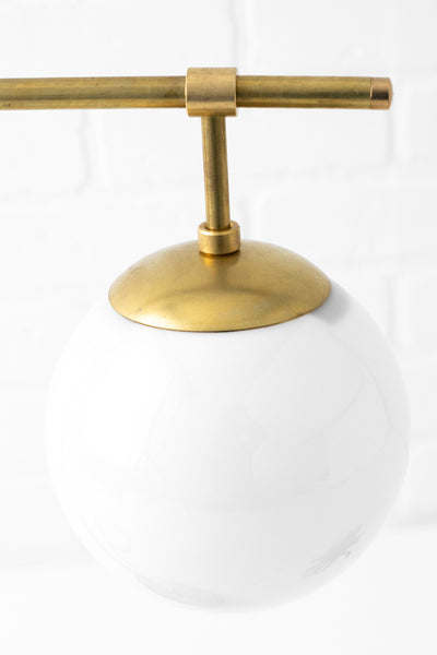Mid Century Modern - White Globe Lamp - Table Lamp - Touch Lamp - Unfinished Brass Lamp - Mid Century Lighting - Model No. 8877
