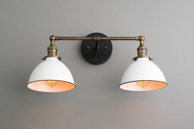 Farmhouse Vanity - White Shade Light - Wall Light Fixture - Industrial Lighting - Antique Brass - Rustic Vanity Light