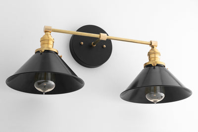 Black Brass Vanity Light - Bathroom Wall Lamp - Modern Fixture -  Mirror Lighting - Edison Bulb Fixture - Model No. 9468