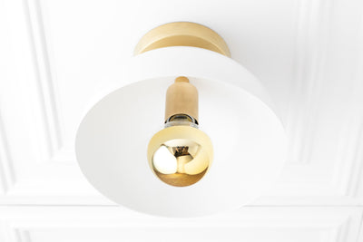 White Ceiling Light - Brass Ceiling Light - Gold Bulb - Mid Century Lighting - Mid Century Fixture - Modern Light Fixture  - Model No. 6419