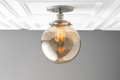 Smoked Globe Light- Industrial Lighting - Globe Ceiling Light - Light Fixture - Ceiling Light - Semi Flush Light - Glass Shade