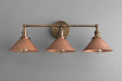 Copper Light Fixture - Rustic Vanity Light - Rustic Lighting - Industrial Lighting - Industrial - Vanity Light Fixture - Model No. 2492