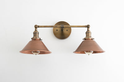 Copper Vanity Light - Industrial Bathroom - Industrial Decor - Vanity Lighting - 2 Bulb Sconce - Utility Style Light - Model No. 8845