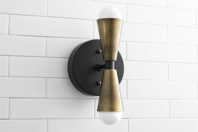 Antique Brass Sconce - Wall Light Fixture - Matte Black/Brushed Nickel Light - Small Cone Sconce - Modern Farmhouse Lighting