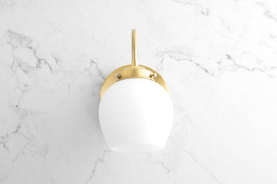 Curved Sconce Light - Brass Wall Light - Frosted Globe Sconce - Bathroom Sconce - Bedside Wall Light - Model No. 7283