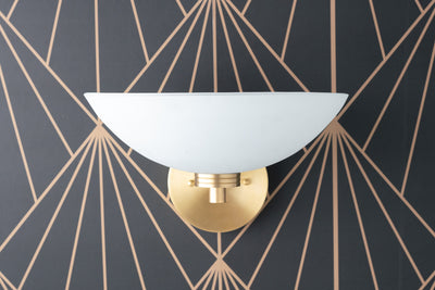 Glass Dish Light - Light Fixture - Bathroom Vanity - Bathroom Light - Modern Lighting - Art Deco Sconce - Wall Fixture - Model No. 8657