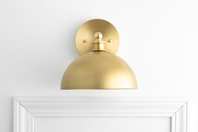Brass Sconce - Art Deco Light - Brass Dome Light - Modern Lighting - Bathroom Lighting - Modern Vanity - Sconce Lighting - Model No. 8066