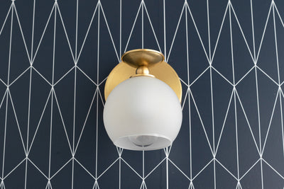 Frosted Globe Sconce - Light Fixture - Open Globe Sconce - Unique Wall Light - Unfinished Brass - Art Deco Sconce - Model No. 9120