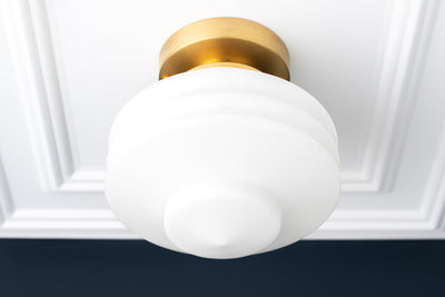Art Deco - Ceiling Light - Flush Mount Light - Indoor Lighting - Decorative Ribbed Shade Light - Globe Ceiling Light