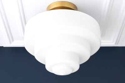 Wedding Cake Light - Large Ceiling Light - 12 Inch Globe - Light Fixture - Milk Glass Light - Art Deco Lamp - Model No. 1840
