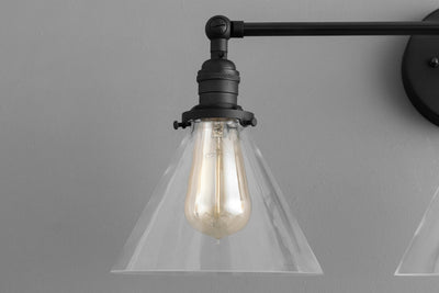Clear Cone Vanity - Rustic Bathroom - Three Bulb Vanity - Wall Light Fixture - Farmhouse Lighting - Model No. 4498