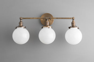 White Globe Vanity - Antique Brass Light - Light Fixture - Rustic Lighting - 6 Inch Globe Vanity Light - Model No. 8241